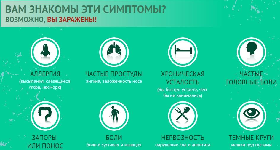 gelminex симптомы паразитов